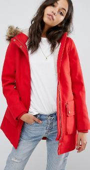 Abercrombie & Fitch , Heritage Wool Coat Red Dd500