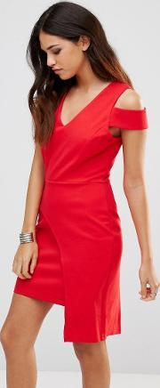 Adelyn Rae , Red Cut Out Panel Skirt Dress