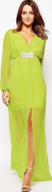 Amy Childs , Jocelyn Maxi Dress With Embellished Waist Green
