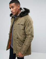 Another Influence , Hooded Parka Jacket With Faux Fur Green