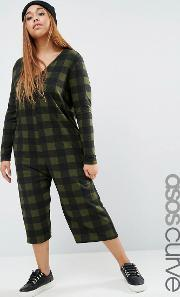 Asos Curve , Brushed Soft Jersey Jumpsuit In Check Multi