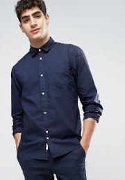 Bellfield , Shirt In Washed Cotton  Regular Fit Navy