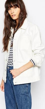 Bethnals , Alfie Boxy Denim Jacket Wh1 White