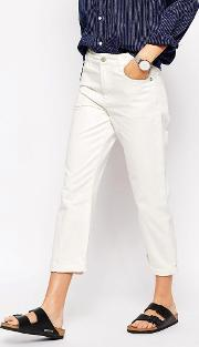 Bethnals , Charlie Wide Leg Boyfriend Jeans With Roll Hem In White Selvedge