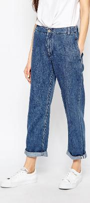 Bethnals , Smith Relaxed Boyfriend Jeans With Rolled Hem Bl1 Blue