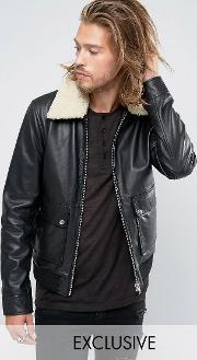 Black Phoenix , Flight Jacket Shearling Collar Black