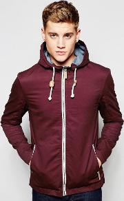 Brave Soul , Hooded Jacket With Toggles Red