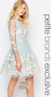 Chi Chi Petite , Chi  London Petite Premium Allover Floral Embroidered Mini Prom Dress With Mesh Sleeve Pale Blue