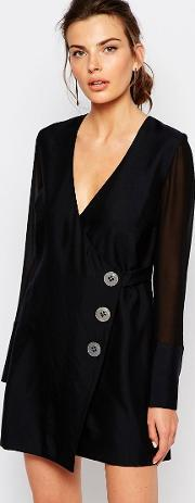 Cmeo Collective , C/meo Collective Button Up Wrap Dress Black