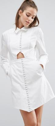 Cmeo Collective , C/meo Collective Let It Go Long Sleeve Shirt Dress White