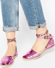 Cute To The Core , Mandy Ankle Strap Espadrilles Metallic Pink