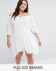 Diya , Plus Cold Shoulder Dress With Crochet Insert White