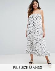 Diya , Plus Maxi Dress With Overlay Top White