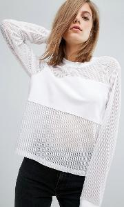 Dr Denim , Top With Mesh Panel Detail White