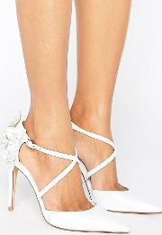 Dune , Clematis Flower Open Court Shoes White Leather