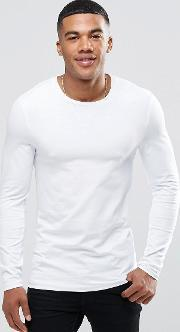 Asos , Extreme Muscle Long Sleeve  Shirt With Crew Neck White