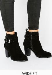 Faith Wide Fit , Buckle Strap Suede Heeled Ankle Boots Black Cow
