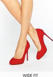 Faith Wide Fit , Candy Red Court Shoes  Mf