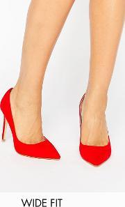 Faith Wide Fit , Chloe Red Court Shoes  Mf