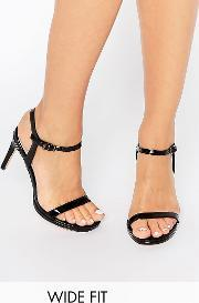 Faith Wide Fit , Dolly Black Barely There Heeled Sandals  Pu