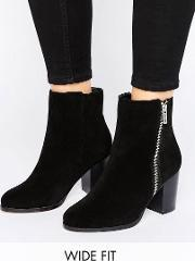 Faith Wide Fit , Zip Suede Heeled Ankle Boots Black Cow