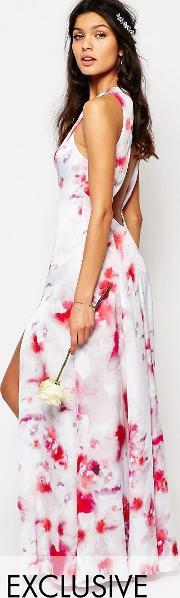 Fame And Partners , Ashleigh Maxi Dress With Open Back And Side Splits Multi Pink Print