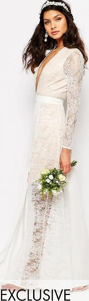 Fame And Partners , Bridal Laced Heaven Maxi Dress With Split Parchment White