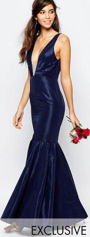 Fame And Partners , Modern Dream Fishtail Maxi Dress Navy