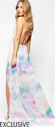 Fame And Partners , Valentina Dream Maxi Dress With Cut Out Back  Watercolour Print Mu1 Multi