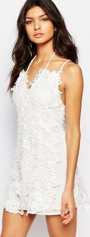 Foxiedox , Clover Mini Dress With Lace Daisy Detail White