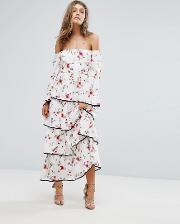 Foxiedox , Floral Off The Shoulder Tiered Ruffle Maxi Dress Multi