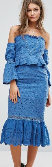 Foxiedox , Off The Shoulder Midi Dress With Ruffle Details Blue