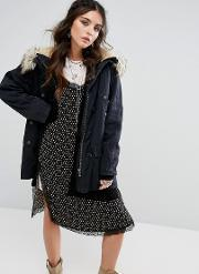 Free People , Whistler Parka With Faux Fur Trim Hood Black