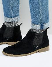 Front , Chelsea Boots In Suede Black