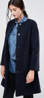 Helene Berman , Collarless Swing Coat  Navy