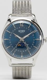Henry London , Knightsbridge Moonphase Silver Mesh Watch With Date
