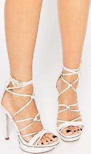 Asos , Highbrow Lace Up Platforms Pale Pink