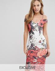 Hope And Ivy , Bardot Pencil Dress With Floral Placement Print Red Multi