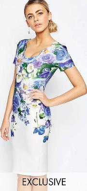 Hope And Ivy , Floral Pencil Dress With Scallop Neck Blue Multi