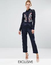 Hope And Ivy , Hope & Ivy Occasion Jumpsuit With Embroidery Navy