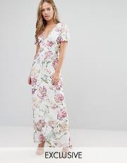 Hope And Ivy , Maxi Dress In Vintage Floral Print Llilac Multi