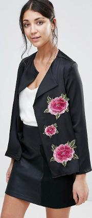 Jessica Wright , Jacket With Floral Embroidery Black