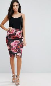 Jessica Wright , Pencil Dress With Floral Skirt Black