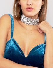 Johnny Loves Rosie , Lace & Rhinestone Choker  Silver