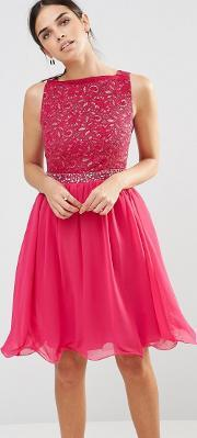 Laced In Love , A Pink Fit And Flare Dress With V Line Back