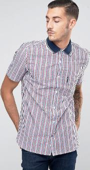 Lambretta , Shirt In Gingham With Short Sleeves Red