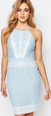 Lipsy , High Neck Midi Dress With Lace Detail Blue