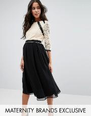 Little Mistress Maternity , 2 In 1 Lace Skater Dress With Contrast Skirt Multi