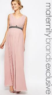 Little Mistress Maternity , Plunge Front Maxi Dress With Embellished Waist Pink