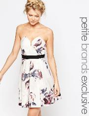 Little Mistress Petite , Sweetheart Bandeau Skater In All Over Floral Multi